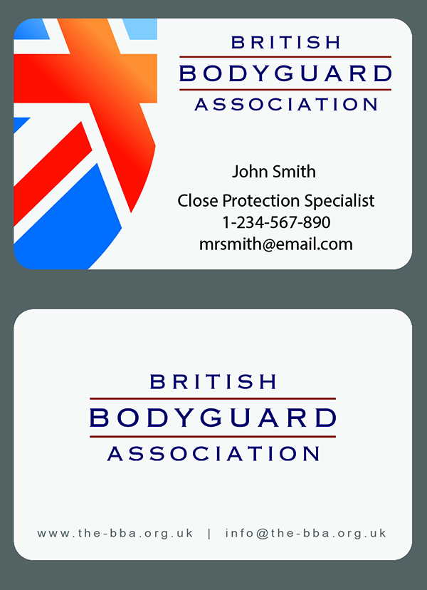 Front and back view of BBA Business Cards