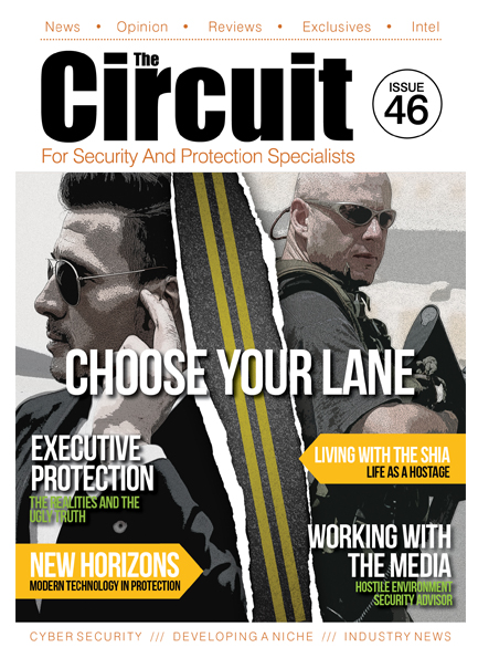 Issue 46 cover showing an Executive protection agent and a H.E. PSD